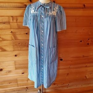 1970s Smart Time Blue Striped Poly/Cotton Houseco